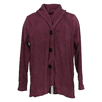 Cuddl Duds Women's Sweater Fleecewear Stretch Button Front Purple A369667