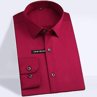 Mjuka & släta bambufiberklänningskjortor, ficka mindre design långärmade skjortor