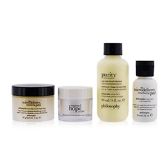 Pure Perfected & Renewed 4-pieces Set: One-step Facial Cleanser 90ml + Microdelivery Resurfacing Peel Step 1 & 2