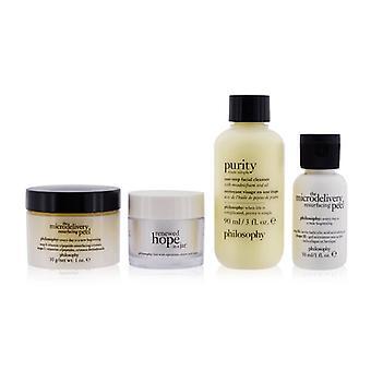 Ren perfektioneret &og Fornyet 4-stykker Sæt: One-step Facial Cleanser 90ml + Microdelivery Resurfacing Peel Trin 1 & amp; 2