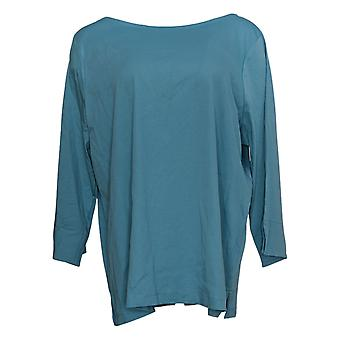 Martha Stewart Women's Top Blouse With 3/4 Sleeve Green A366935