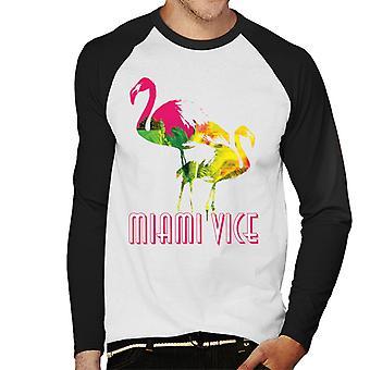 Miami Vice Flamingo Silhouette Men's Baseball Long Sleeved T-Shirt