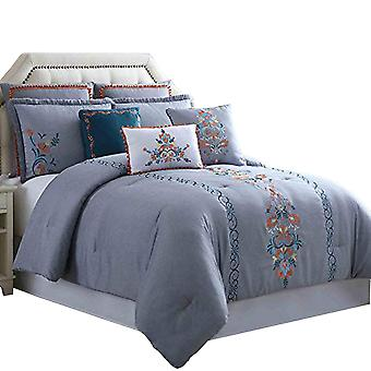 Odense 8 Piece King Comforter Set With Floral Embroidery The Urban Port, Multicolor