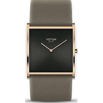 VOTUM - Reloj de señoras - SQARE - Puro - V02.20.40.06 - correa de cuero - gris-marrón