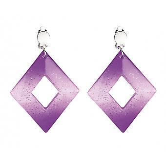 Clip Earrings Diamond Ladies Purple