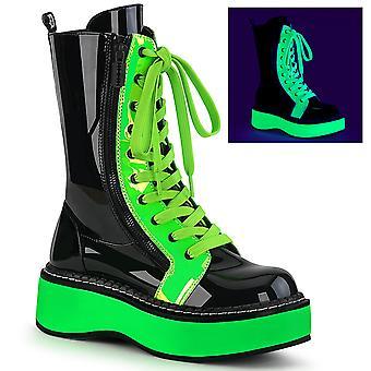 דמוניה נשים&s מגפיים אמילי-350 בלק פט-UV ניאון גרין