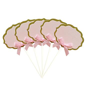 TRIXES Satz von 5 leere Vintage Marker Lebensmitteletiketten mit Ribbon Bow rosa und Gold