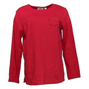 Quacker Factory Women's Top Long Sleve W/ Chest Pocket Red A384106