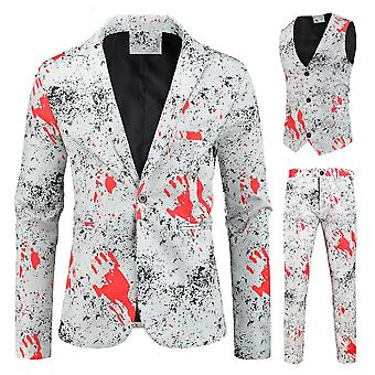 Men's Fashion Printed 3 Piece Casual Suits Hip Hop Slim Fit Suit Set