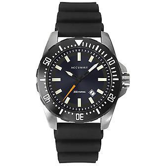 Accurist 7307 Diver's Estilo Negro Silicona Hombres's Reloj