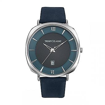 Reloj clásico de moda CC1042-05 - Phantom Dateur Bo tier Steel Silver Leather Bracelet Blue Black Dial