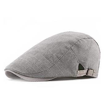 Men Beret Hat Linen Cotton Buckle Adjustable Newsboy Hats Cabbie Gatsby Cap Breathable For Spring And Summer 4 Colors