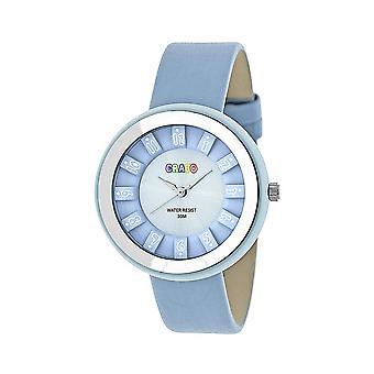 Crayo Celebration Blue Dial Powder Blue Leather Watch CRACR3405