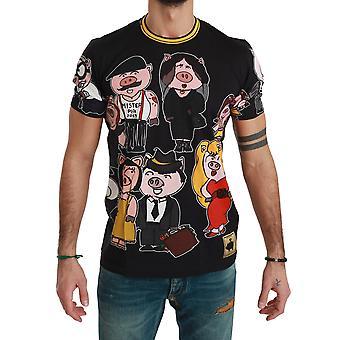 Black Cotton Top 2019 Année de la conception de t-shirts cochon 1