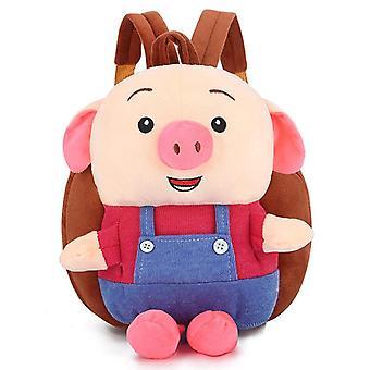 Punainen söpö sika lapset'vauvan pehmkotie pieni koululaukku reppu sarjakuva laukku