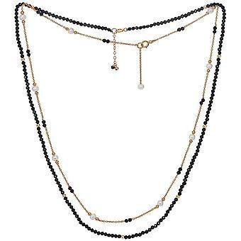 Pearls of the Orient Clara Black Spinel Fine Double Chain Necklace - Black