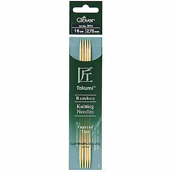 Clover Knitting Pins: Double-Ended: Set of Five: Takumi Bamboo: 16cm x 2.75mm