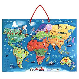 Magnetic Map Of The World Puzzle Two-in-one Drawing Board Educational
