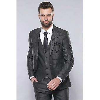 Vested smoked checked suit | wessi