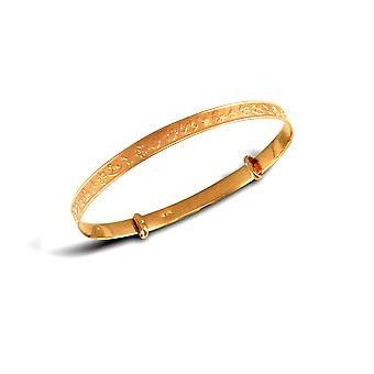 Jewelco London Baby Solid 9ct Yellow Gold Nursey Rhymes Pattern 2.5mm Expanding Bangle Bracelet