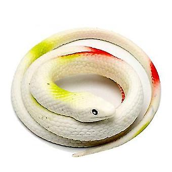 White realistic rubber fake snake toy for garden props and practical joke x3930