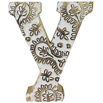 Kirjain Y käsin veistetty puinen valkoinen kukka