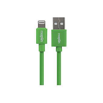 Maplin Premium Lightning-kontakt till USB A Hankabel 0,75 m Grön