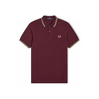 Fred Perry Twin Tipped Polo Shirt (Mahogany/Warm Stone)