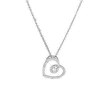 Pendentif Cœur Or Blanc et Diamants 0,15 carat 'My Sweet Love' + chaîne argent offerte