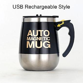 USB Rechargeable Automatic Self Stirring Magnetic Mug Creative 304 Stainless Steel(black)
