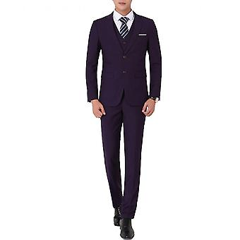 Yunyun Men's Two-piece Business Flat Collar Solid Color Single Row 2 Button Suit Jacket And Trousers