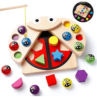 Montessori Toy Fishing Game Wooden Cube Shape Sorting Game Educational Wooden Toy