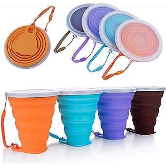 Silicone Foldable Cup,collapsible Travel Cup With Lids,reusable Cup