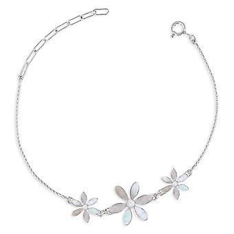 ADEN 925 Sterling Silver White Moeder-van-parel Bloemen Armband (id 4547)
