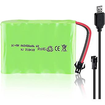 Battery 6v ni-mh 2400 mah for car remote control + usb charging cable
