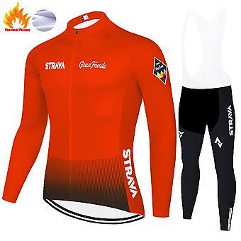 Strava Masculino Roupa de Ciclismo Manga Longa Sportswear Conjunto de Roupas de Ciclismo + Calças 3d Calças /laranja