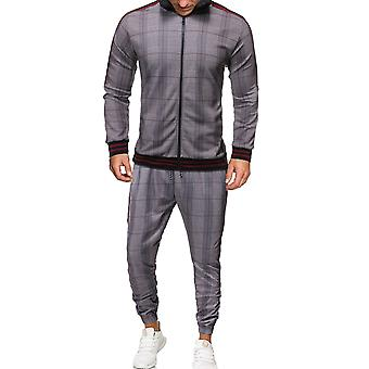 Silktaa Men's 2 Pieces Tracksuit Plaid Printed Casual Sports Sweatsuits