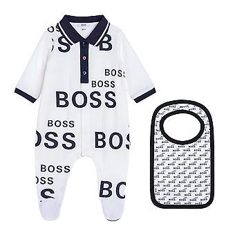 Hugo boss baby boys white printed babygrow j98335 10b