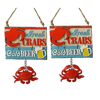 Fresh Red Crabs Cold Beer Sign Christmas Holiday Ornaments Set of 2 Midwest CBK