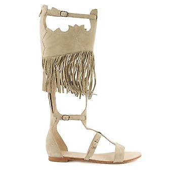 Ash Footwear Margot Beige Fringed Sandal