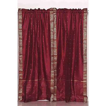 Tenda a bastone in Sari pura di Maroon / drappo / pannello - coppia