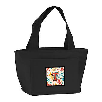 Letter T Retro Teal Orange Musical Instruments Initial Lunch Bag