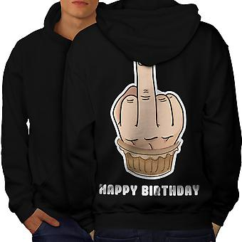 Happy Funny Cake Men BlackHoodie Back | Wellcoda