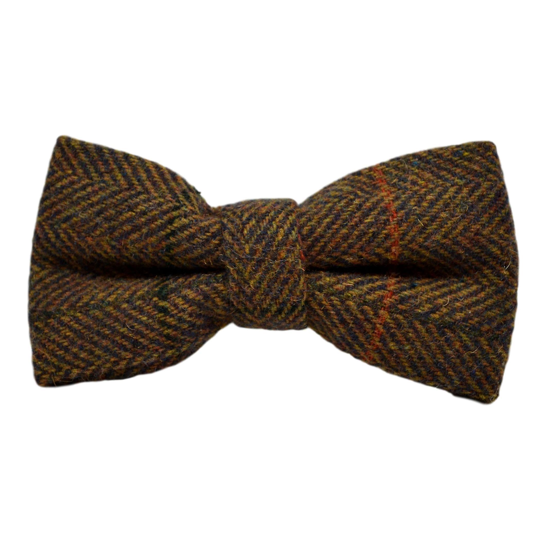 Luxury Dijon Herringbone Check Bow Tie & Pocket Square Set, Tweed