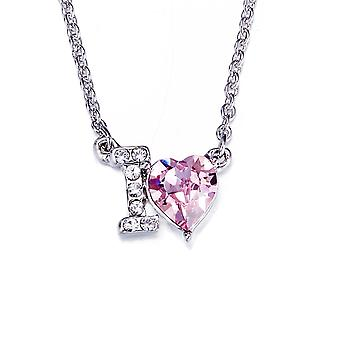 Heart I love You necklace adorned with Swarovski Rose crystals 6330