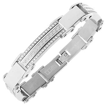 Iced Out Edelstahl Micro Pave CZ Armband - 11mm silber