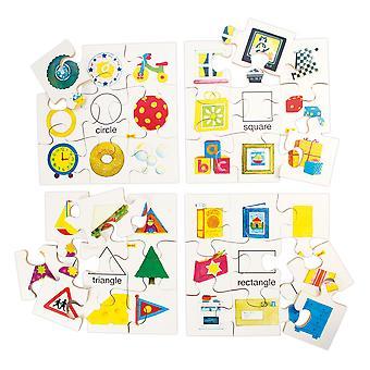 Dowiedz się więcej (zestaw 4 układanek) Jigsaw Bigjigs zabawki edukacyjne kształty zagadki zestaw 1