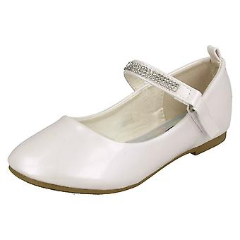 Girls Spot On Diamante Bar Strap Ballerinas H2485 - White Synthetic Patent - UK Size 13 - EU Size 32 - US Size 1