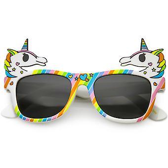 Corne de lunettes de soleil fantaisie Rainbow Licorne bordés carré lentille 50mm