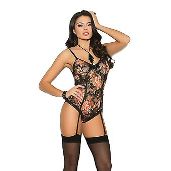 Womens Sexy Floral Print Lace Gartered Cheeky Teddy Romper Lingerie